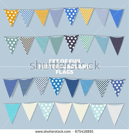 Set of fun vector festival garland of flag in cold shades