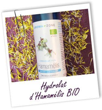 Hydrolat Hamamélis BIO Aroma-Zone super pour diminuer les rougeurs, la couperose...