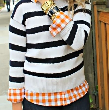 Black Stripes White With a Bright Checkered Shirt. This actually looks great together!
