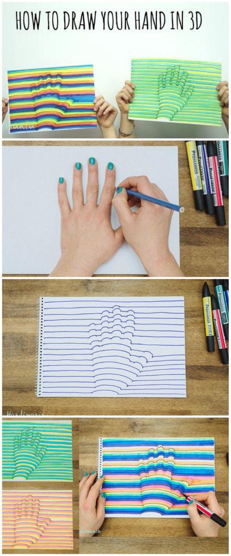 3d Hand Art Step By Step Instructions Video Tutorial 3d Hand Art