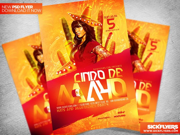 Cinco de Mayo Party Flyer Template PSD by Industrykidz
