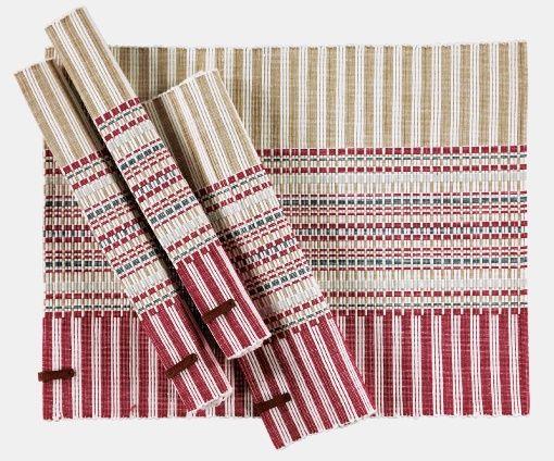 Runner red/white/sand stripe 33 cm - Stoff & Stil