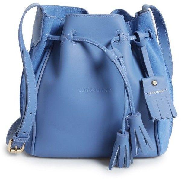 Women's Longchamp Penelope Fantasie Leather Bucket Bag (2.440 BRL) ❤ liked on Polyvore featuring bags, handbags, shoulder bags, bolsa, purses, sacs, blue mist, blue leather shoulder bag, genuine leather handbags and bucket bags