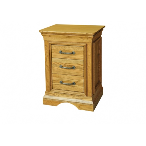 Solid Oak - FRBS3 Lyon Oak 3 Drawer Bedside Chest   www.easyfurn.co.uk