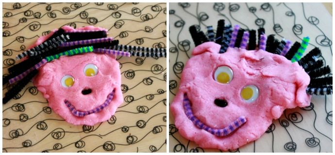 Playdough Faces with Googly Eyes and Pipe Cleaners