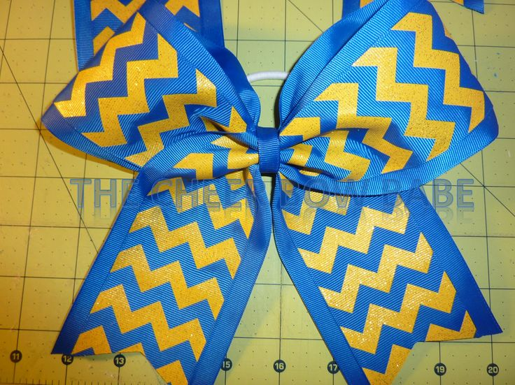 Royal and Gold Glitter Chevron Cheer Bow *  Team * School by TheCheerBowBabe on Etsy