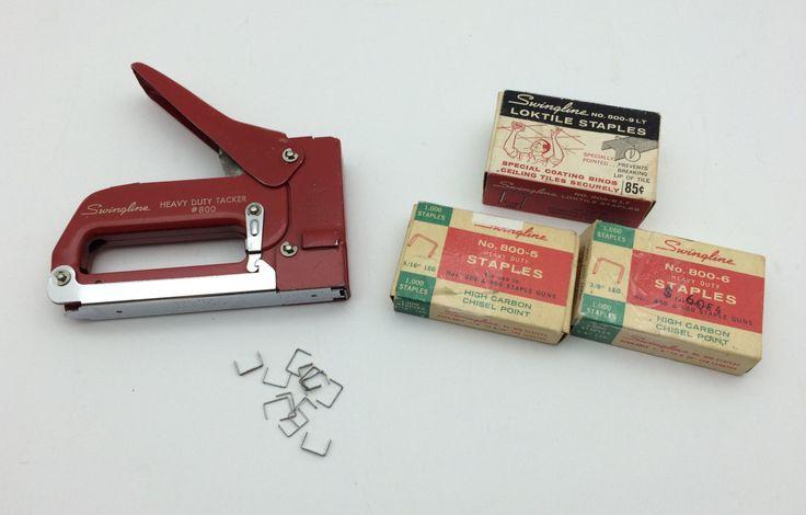 Vintage Red Swingline Stapler, Vintage Tools/Staple gun, Vintage Staples, Vintage Office Desk Set by Vintagetinshed on Etsy