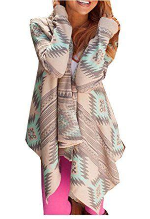 TOP-AK Damen Rosa Lose Lange Gestreift Sleeve Elegant Baumwolle Kimono Strickjacke Mantel Tops Cover Up Bluse (S, grün): Amazon.de: Bekleidung