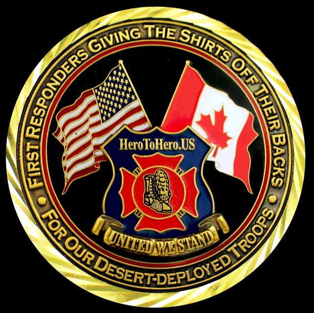 The official coin and logo of the Hero To Hero Troop Morale Campaign by Liz Jackson