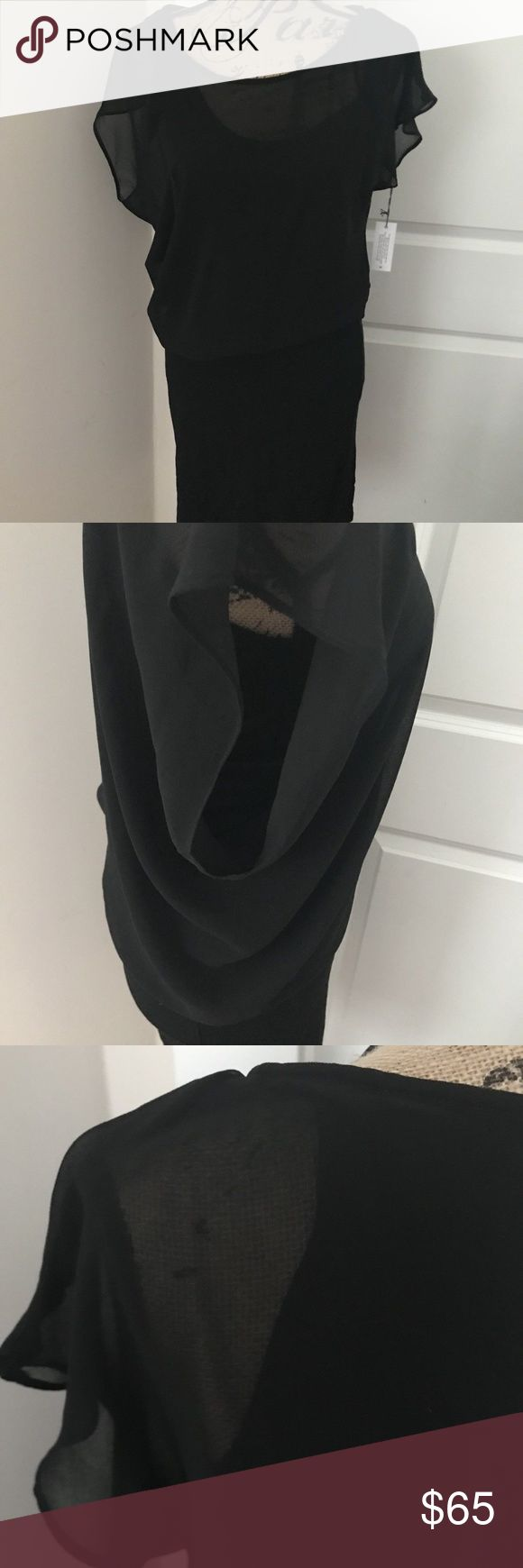 Velvet By Graham & Spencer Black Dress Blouson Velvet By Graham & Spencer Black Dress Sheer Blouson Bodycon Size Medium Velvet by Graham & Spencer Dresses Midi