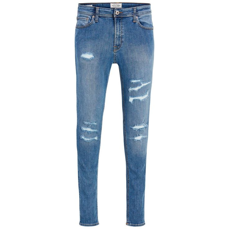 Skinny blue denim jeans with rippes and tears for a rough look. Liam Original AM 506 Skinny fit jeans   JACK & JONES