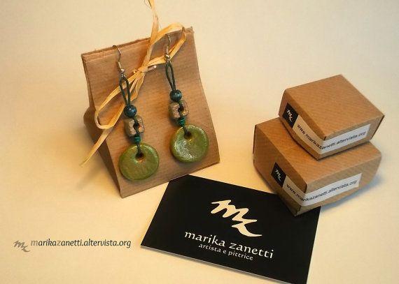 orecchini etnici verdi fatti a mano idea di LaBottegadimarika