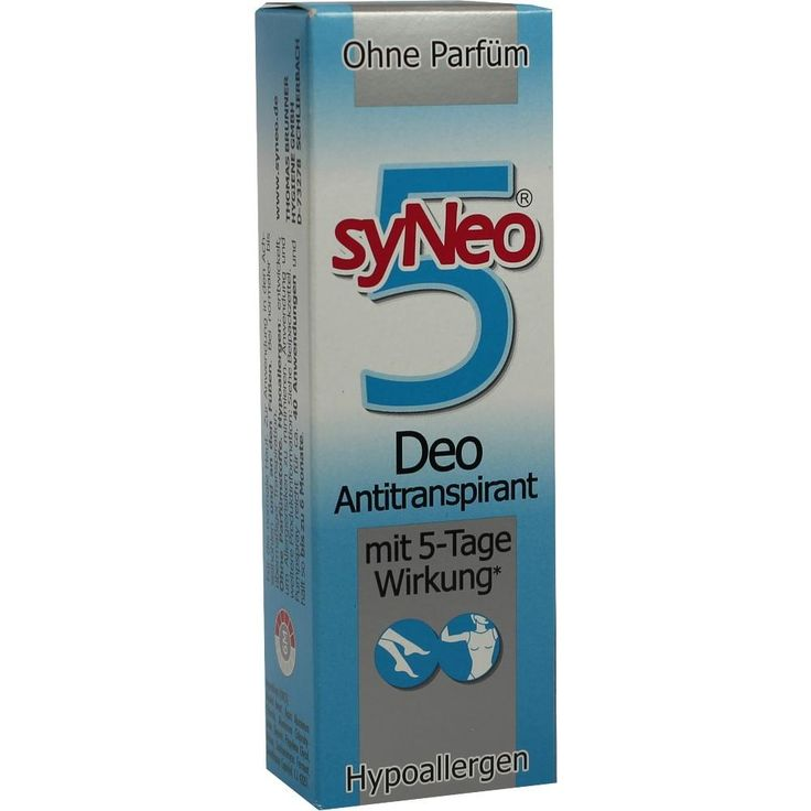 SYNEO 5 Deo Antitranspirant Spray:   Packungsinhalt: 30 ml Spray PZN: 01261760 Hersteller: Drschka Trading Preis: 10,54 EUR inkl. 19 %…