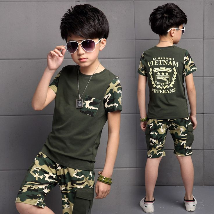 Suits for Boys 2017 Summer Cotton Short Sleeve Camouflage Clothes Boy Set Children's Sports Suits Kid Track Suit Boys Clothes