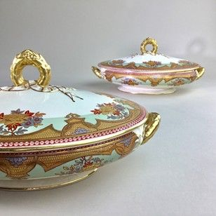 Early Victorian gilded tureen serving dishes - Decorative Collective