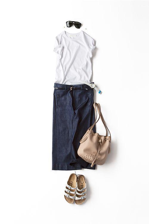 Kyoko Kikuchi's Closet | 白Tコーデをボーイズ×レディ、ハードさ×キュートさ、、、両極端な小物バランスで楽しむ