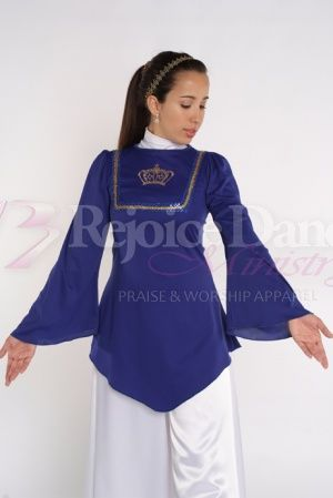 V Tunic w/ Bell Sleeves and Crown Decoration