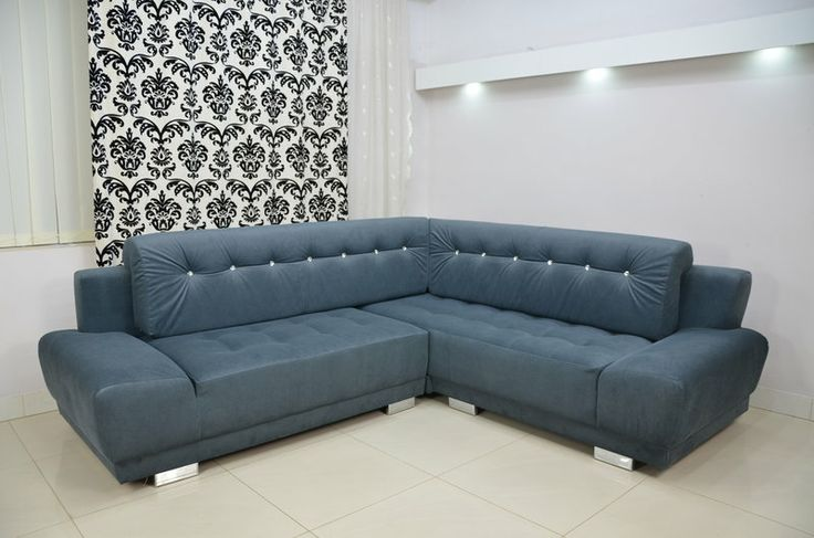 Super sofa bed corner Kamel. Large sleeping area and big storage. Crystal effect buttons. Available in three sizes: 260 x 160cm, 260 x 180cm and 260 x 200cm. Range of colours and fabrics. £890+del