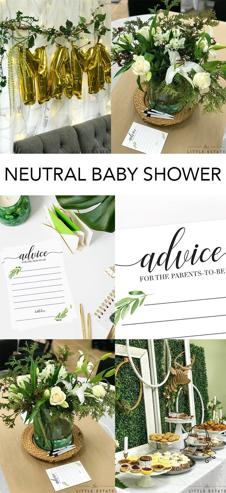 Neutral baby shower games by LittleSizzle. Are you hosting a neutral baby shower? Entertain your guests with these gorgeous greenery themed baby shower games. They are perfect for any botanical green baby shower. The printable baby shower game package includes advice cards for the mom-to-be or parents-to-be, baby wishes cards, baby predictions, baby bingo, word scramble, nursery rhyme quiz and more! Simply download, print and play! #babyshowerideas #babyshowerthemes #greenery #botanical…