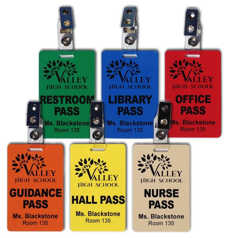 Hall Pass Set Of 6 Plastic Hall Pass Cards With Clips