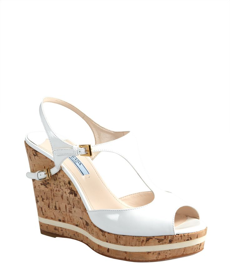 Prada white patent leather and cork peep toe wedges   BLUEFLY up to 70% off designer brands