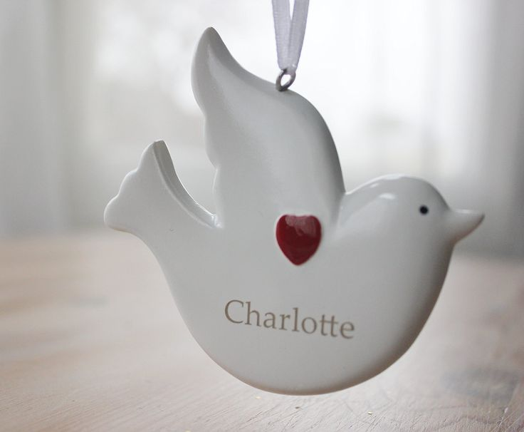 Personalised Xmas Decoration handpainted dove....any name can be added!