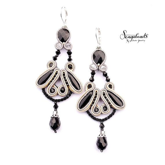 Hand embroidered chandelier soutache earrings  in by Sengabeads