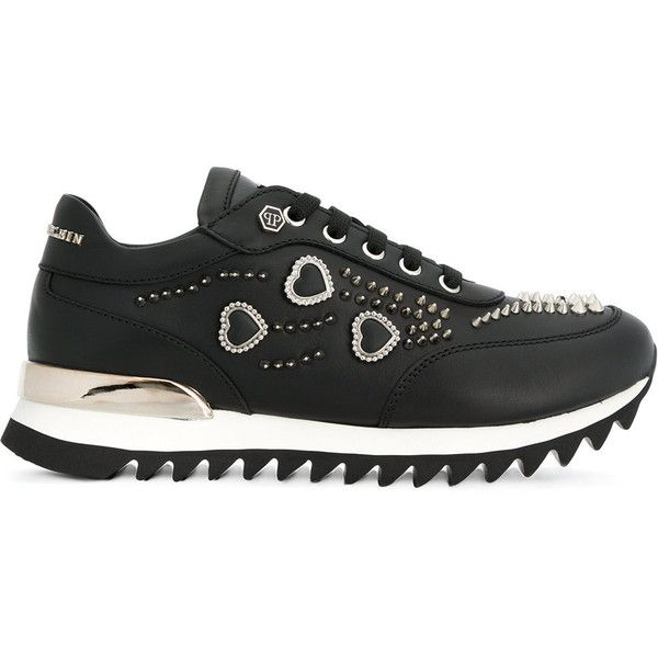 Philipp Plein studded sneakers (13.449.295 IDR) ❤ liked on Polyvore featuring shoes, sneakers, black, black leather trainers, black leather sneakers, studs shoes, black studded sneakers and black shoes