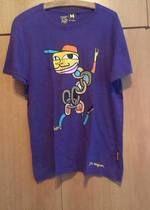 Pánské fialové triko s potiskem