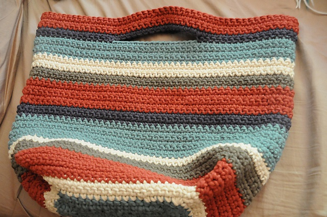 Jumbo Cotton Bag: I've made several of these for friends and each bag has been unique.  I let the stripes do the talking as I whip up this easy to Crochet number with some super bulky cotton yarn.