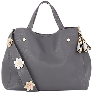 Oasis Harper Strap Detail Tote, Mid Grey/Multi #oasis #oasisharper #tote #totebags #shopping #onlineshopping #shoppingonline #handbags #bags #grey #fashion #strapdetail #flowers