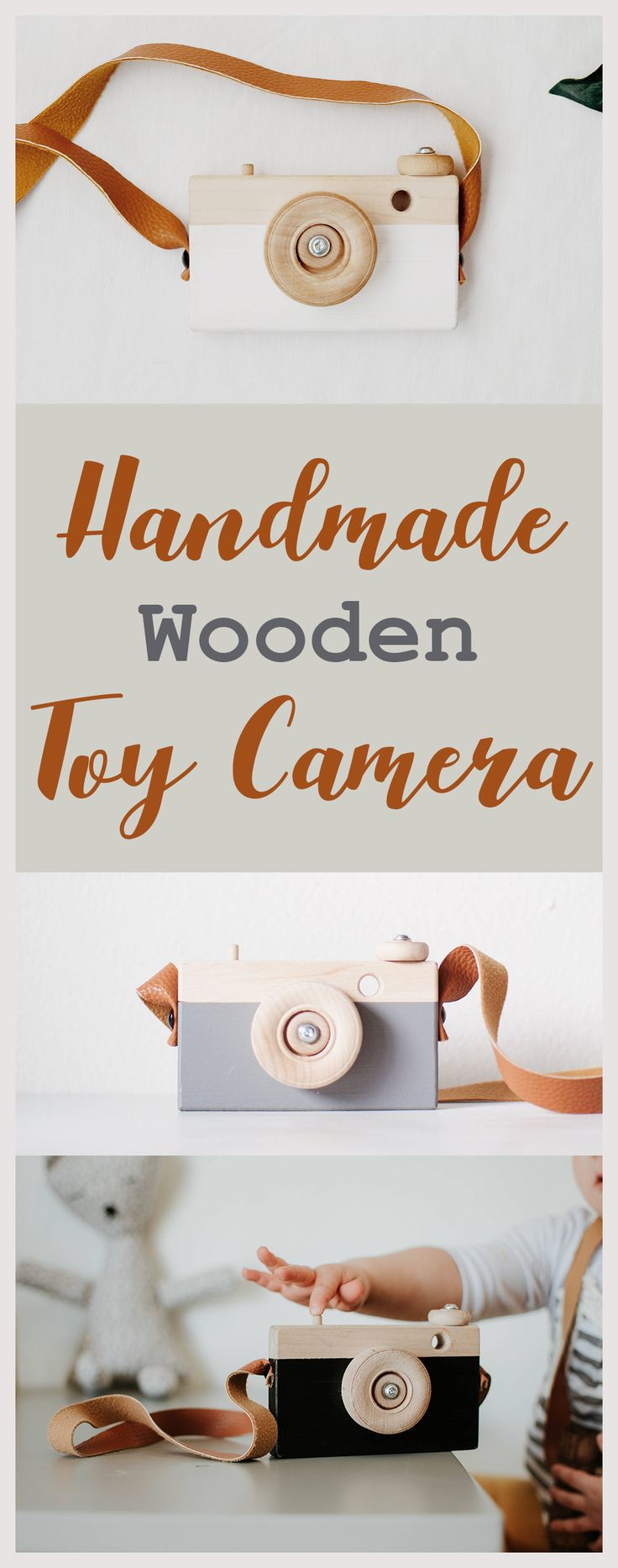 """This wooden toy camera is so adorable! I'm sure my kids would have endless imagination and fun playing with this! They love to """"take pictures"""". Such a great gender neutral toy. #woodencamera #toys #genderneutral #etsy #ad"""