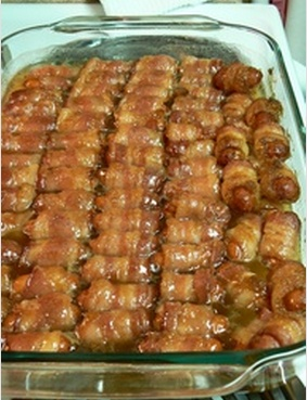 Kelly's bacon wrapped little smokies with brown sugar and butter! http://tastykitchen.com/recipes/appetizers-and-snacks/bacon-wrapped-smokies-with-brown-sugar-and-butter/
