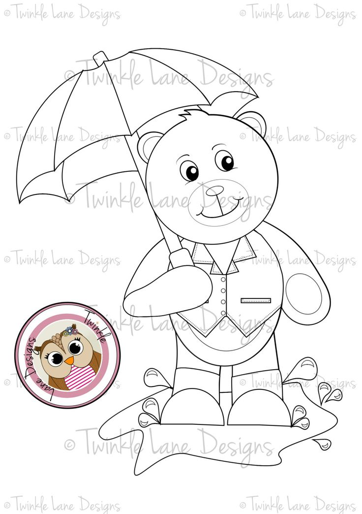 Bobby Teddy Bear Jumping Puddles Digi Stamps, A5 Sheet, Instant Download, Umbrella, Rainy Day, Wellington Boots, Black and White Outline by TwinkleLaneDesigns on Etsy