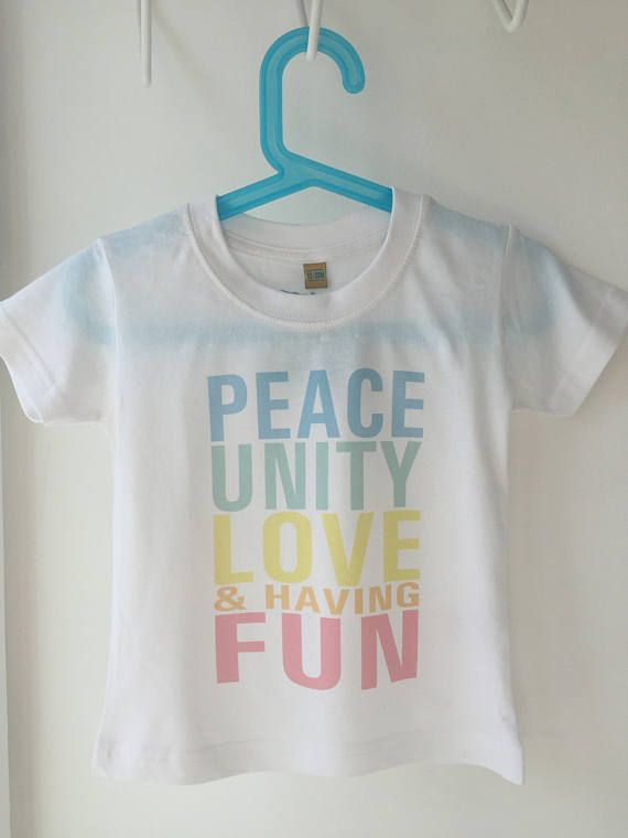 Peace Unity Love & Having Fun Colour Baby/Kid's T-Shirt, made to order, all proceeds go to Comic Relief