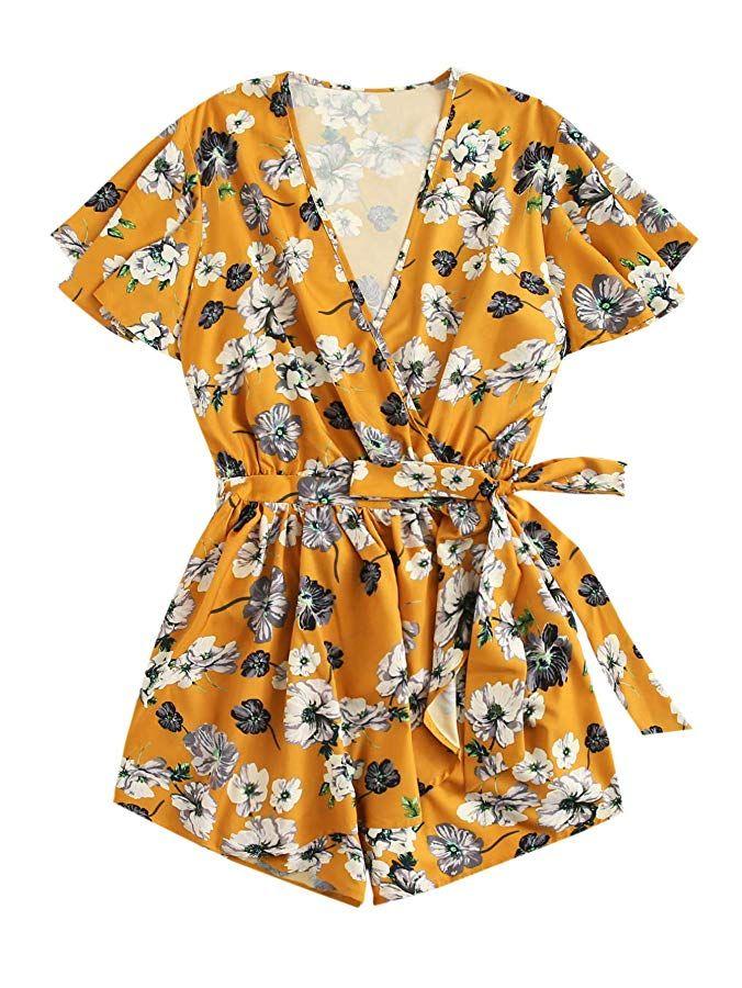 Romwe Women S Plus Size V Neck Wrap Tie Waist Shorts Casual Rompers Jumpsuit In 2020 Plus Size Jumpers Casual Rompers Plus Size Romper
