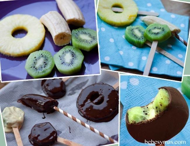 Piruleta helada de fruta cubierta de chocolate