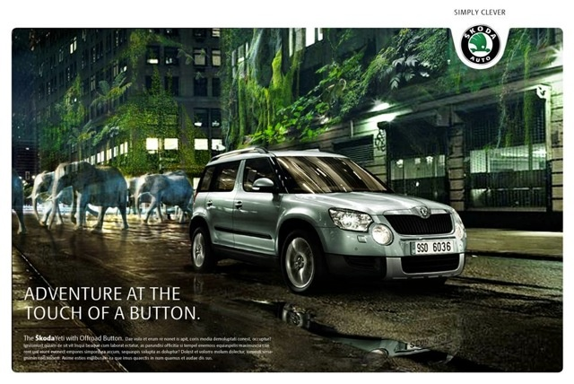 Skoda Yeti campaign with background by maground.com