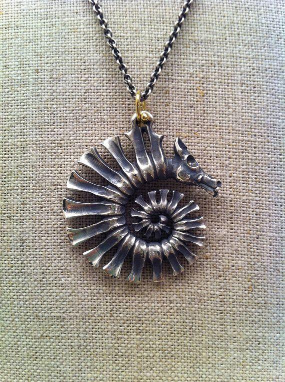 "Pendant ""Spiral Dragon"". Sterling silver, 18k gold"