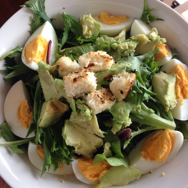 Egg and avocado salad with crumbed cheese croutons.