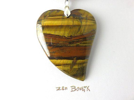 Collier Coeur Collier Oeil de Tigre Saint Valentin par ZenBoutik