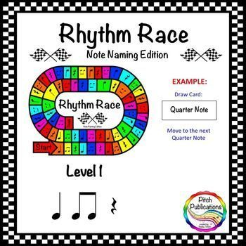 This is a super fun (yet truly educational!) game where students race to the finish line by naming the names of rhythm notes! Use in your daily lessons, as part of center activities, or as a great sub plan!This is Level 1: Quarter Note, Quarter Rest, and Beamed Eighth Notes **Save money and purchase the {BUNDLE}!**In the game, each student will draw a card and then move their game piece (provided by you - see here for cute ones!) to the corresponding note. #elmused #music...