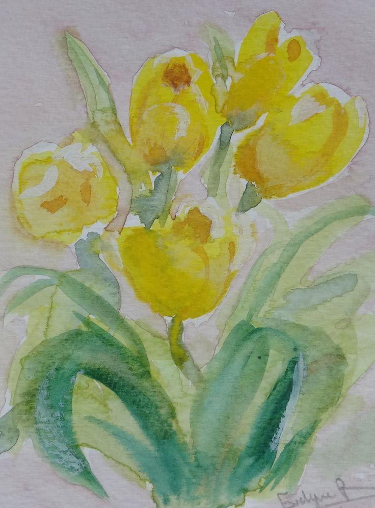 Mes premi res tulipes l 39 aquarelle mes aquarelles for Pinterest aquarell