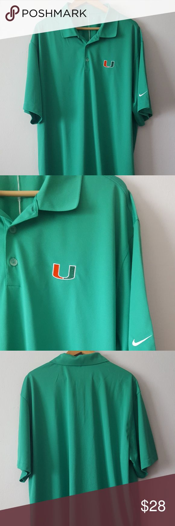 "NWT NIKE GOLF UNIVERSITY OF MIAMI HURRICANES POLO NWT Nike Golf polo for The University of Miami Hurricanes - Size XXL  Nike Dri-fit with UV Protective & stays cool when it heats up!  Green with school ""U"" logo patch on chest in darker green & orange White swoosh embroidery on sleeve 100% polyester  Approx. measurements - 11 inch sleeves, 22 inch shoulder width, 27 in. pit to pit, 32 inches in length Nike Shirts Polos"