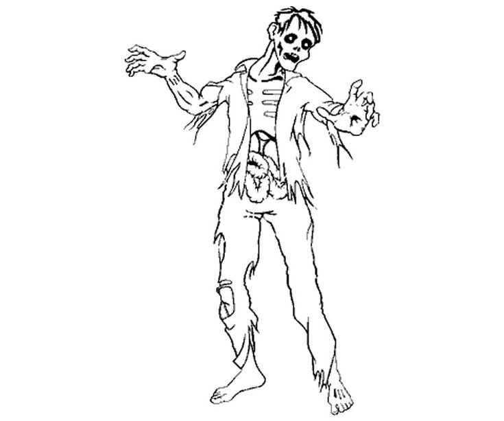 Printable zombie 4 coloring page zombie coloring for Free printable zombie coloring pages
