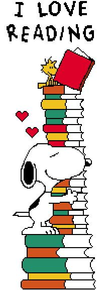 Snoopy I Love Reading bookmark Cross-Stitch Pattern