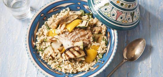 Couscous met gegrilde vis en groente
