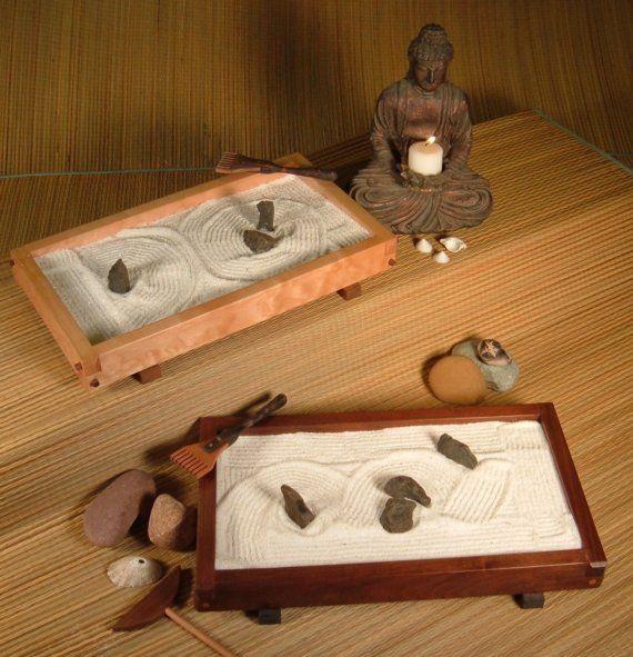 Tabletop Japanese  Zen Rock Garden (Karesansui) Complete with Rakes, Sand, Rocks via Etsy.