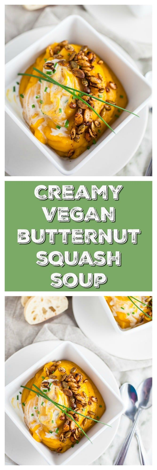 This Creamy Vegan Butternut Squash Soup is healthy, vegan, and super easy to make! In fact, it's one of the easiest soup recipes I've ever made. This soup is made with coconut milk and topped with roasted spicy pepitas. It's savory, sweet, and spicy at the same time. The perfect soup for fall or anytime! #butternutsquash #soup #vegan #coconutmilk