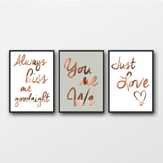 Set of 3 Copper Foil Prints, Typography posters, bedroom wall art, home decor style, real copper, always kiss me, you me we, just love quote #schlafzimmer